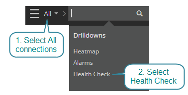 From the dropdown menu select health check